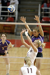 24 November 2006: Kaelyn Panzau sets one across the front row during a Quarterfinal match between the Evansville University Purple Aces and the Missouri State University Bears.The Tournament was held at Redbird Arena on the campus of Illinois State University in Normal Illinois.<br />