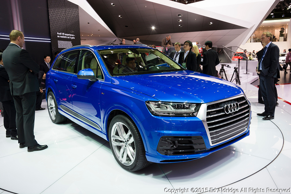DETROIT, MI, USA - JANUARY 12, 2015: Audi Q7 on display during the 2015 Detroit International Auto Show at the COBO Center in downtown Detroit.