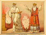 The High Priest in Garments of Glory and Beauty from ' The Doré family Bible ' containing the Old and New Testaments, The Apocrypha Embellished with Fine Full-Page Engravings, Illustrations and the Dore Bible Gallery. Published in Philadelphia by William T. Amies in 1883
