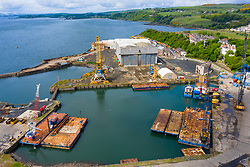Aerial view of Burntisland Fabrications Ltd ( BiFab) yard at Burntisland in Fife, Scotland, UK