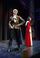 Lindsey Bristol as the Prince and Kelley Davies as Snow White take the stage at the Winnipesaukee Playhouse for dress rehearsal on Tuesday afternoon.  (Karen Bobotas/for the Laconia Daily Sun)