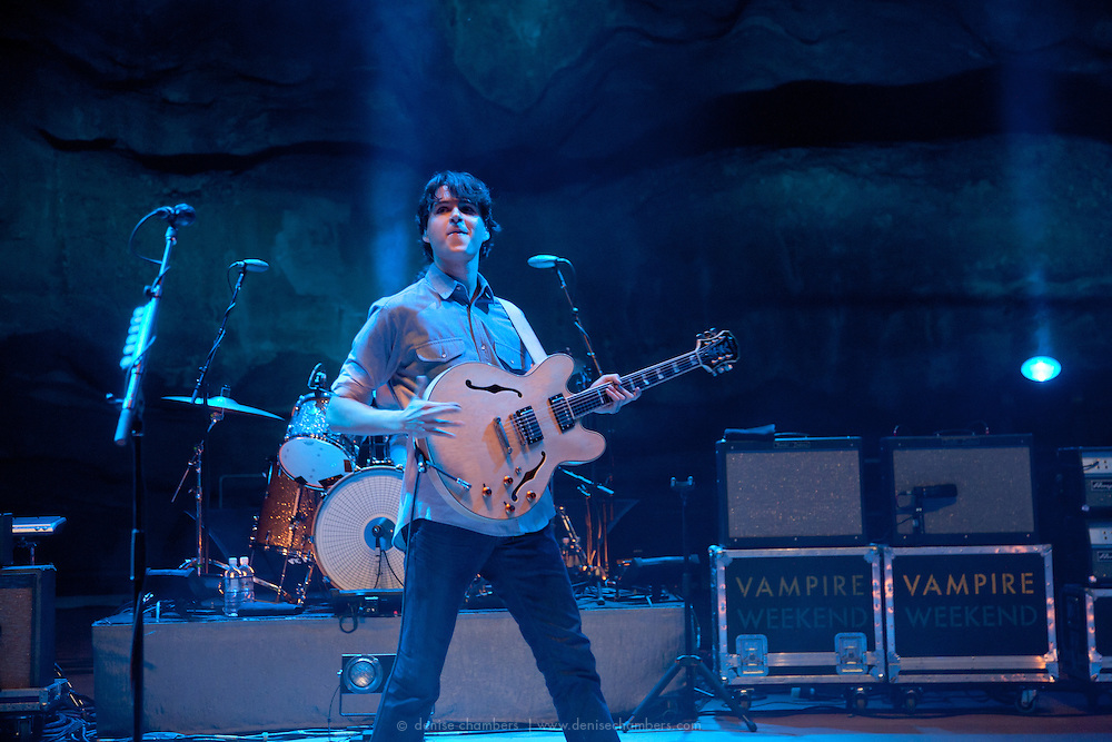 """Ezra Koenig of Vampire Weekend performs on September 3, 2010 in support of """"Contra"""" at Red Rocks Amphitheater in Morrison, Colorado."""