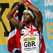 Britain's Conrad Williams celebrates after his team won the silver medal in the men's 4x400m relay during the IAAF World Indoor Championships at the Atakoy Athletics Arena, Istanbul, Turkey. Photo by TURKPIX