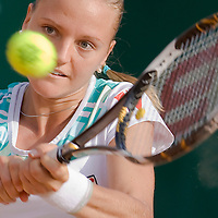 Agnes Szavay (HUN, pictured) playing a winning match against Patty Schnyder (CHE) during the final of the Gaz de France Suez WTA tour Grand Prix international women tennis competition held at Roman Tennis Academy.