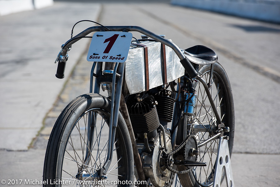 Billy Lane's 1924 single-speed 1924 Harley-Davidson Model J 62 cubic inch racer on the track after Billy Lane's Son's of Speed race during Daytona Bike Week. New Smyrna Beach, FL. USA. Saturday March 18, 2017. Photography ©2017 Michael Lichter.