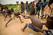 Children at play outside the Kotonli kindergarten in the village of Kotonli, northern Ghana, on Thursday June 7, 2007.