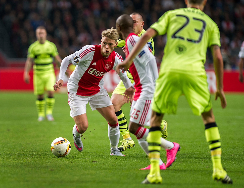 Ajax's Viktor Fischer with the ball during the Europe League Group A soccer match between Ajax Amsterdam and Celtic Glasgow at the ArenA stadium in Amsterdam, Netherlands, Thursday, Sept. 17, 2015. (AP Photo/Patrick Post)