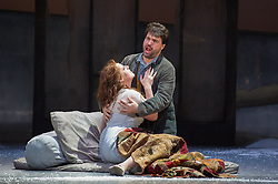 © Licensed to London News Pictures. 06/09/2012. Welsh National Opera present Puccini's La Boheme at the Wales Millennium Centre, Cardiff. Picture shows: Giselle Allen as Mimi and Alex Vicens as Rodolfo. Photo credit : Tony Nandi/LNP