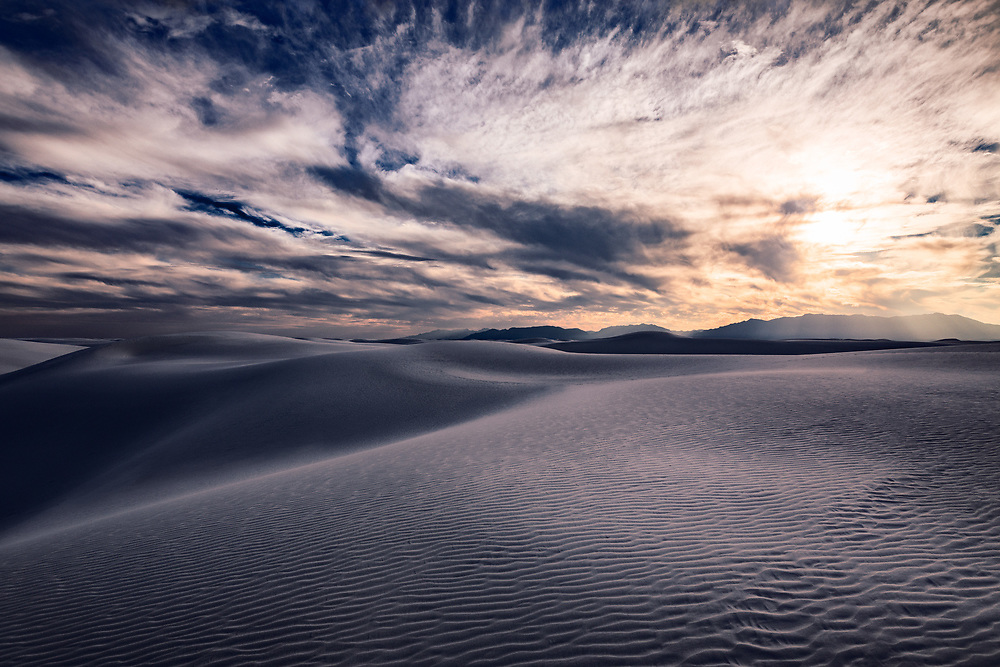Dynamic Light Landscape at White Sands National Monument in New Mexico. ©justinalexanderbartels.com
