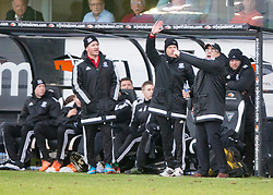 Ayr United's manager Ian McCall and bench. <br /> Dunfermline 3 v 2 Ayr United, Scottish League One played at East End Park, 13/2/2016.