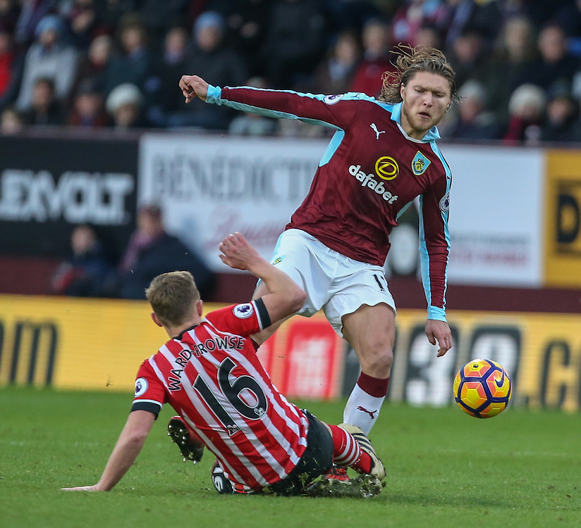 Burnley's Jeff Hendrick is tackled by Southampton's James Ward-Prowse<br /> <br /> Photographer Alex Dodd/CameraSport<br /> <br /> The Premier League - Burnley v Southampton - Saturday 14th January 2017 - Turf Moor - Burnley<br /> <br /> World Copyright © 2017 CameraSport. All rights reserved. 43 Linden Ave. Countesthorpe. Leicester. England. LE8 5PG - Tel: +44 (0) 116 277 4147 - admin@camerasport.com - www.camerasport.com