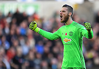 CELE - Manchester United's David De Gea celebrates the opening goal scored by Paul Pogba (not in frame) <br /> <br /> Photographer Ashley Crowden/CameraSport<br /> <br /> The Premier League - Swansea City v Manchester United  - Sunday 6th November 2016 - Liberty Stadium - Swansea<br /> <br /> World Copyright © 2016 CameraSport. All rights reserved. 43 Linden Ave. Countesthorpe. Leicester. England. LE8 5PG - Tel: +44 (0) 116 277 4147 - admin@camerasport.com - www.camerasport.com