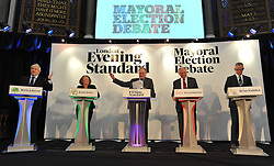 London Mayor Boris Johnson takes part in the mayoral debate, London, L to r Boris Johnson, Jenny Jones (green Party), The Host Clive Andersen, Ken Livingstone,Brian Paddick (lib Dems),   Wednesday April 11, 2012. Photo By Andrew Parsons/i-Images