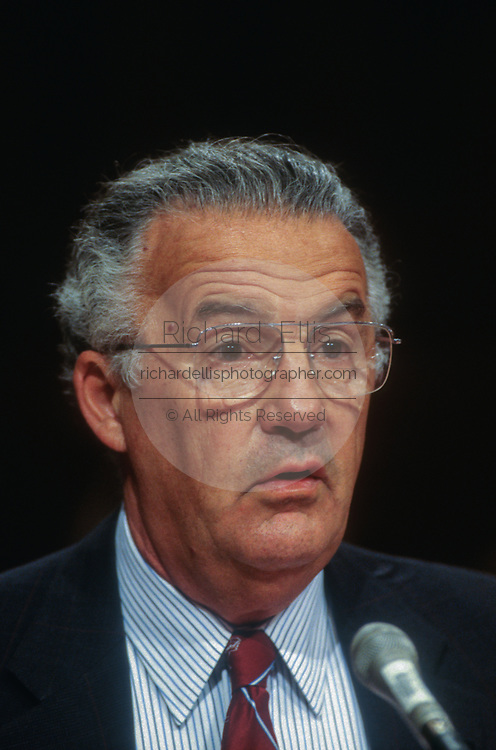 WASHINGTON, DC, USA - 1997/05/06: U.S. Senator Paul Sarbanes testifies before the Senate Intelligence Committee hearing supporting the nomination of George Tenet as CIA Director on Capitol Hill May 6, 1997 in Washington, DC.    (Photo by Richard Ellis)