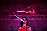 Jade slings her ribbons for a portrait at the Exit Theatre on Wednesday, Jan. 18, 2017 in San Francisco, Calif. Jade is performing at the second-annual Fog City Magic Fest taking place at the theatre Jan. 25-28.