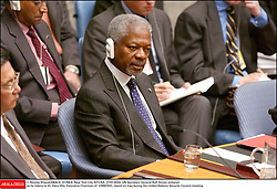 File Photo - UN Secretary General Kofi Annan pictured as he listens to Dr. Hans Blix, Executive Chairman of UNMOVIC, report on Iraq during the United Nations Security Council meeting in New York City-NY-USA, 27/01/2003. Kofi Annan, the former UN secretary-general who won the Nobel Peace Prize for humanitarian work, has died aged 80, his aides say. Photo by Nicolas Khayat/ABACAPRESS.COM