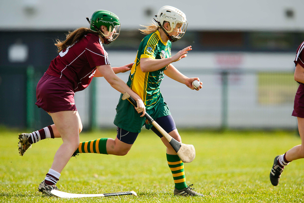 National Camogie League Division 2 at Trim, 20th March 2016<br /> Meath vs Galway<br /> Jane Dolan (Meath) & Louise Brennan (Galway)<br /> Photo: David Mullen /www.cyberimages.net / 2016