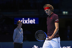 November 16, 2017 - London, England, United Kingdom - Germany's Alexander Zverev reacts to winning the first game of the final set during his men's singles round-robin match against US player Jack Sock on day five of the ATP World Tour Finals tennis tournament at the O2 Arena in London on November 16 2017. (Credit Image: © Alberto Pezzali/NurPhoto via ZUMA Press)