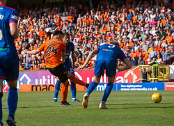 Dundee United's Lawrence Shankland scoring their fourth goal. Dundee United 4 v 1 Inverness Caledonian Thistle, first Scottish Championship game of season 2019-2020, played 3/8/2019 at Tannadice Park, Dundee.