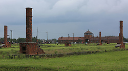 Stoves and chimneys are all that remain of many of the buildings, at the Auschwitz-Birkenau Nazi concentration camps in Auschwitz, Poland on September 3, 2017. Auschwitz concentration camp was a network of German Nazi concentration camps and extermination camps built and operated by the Third Reich in Polish areas annexed by Nazi Germany during WWII. It consisted of Auschwitz I (the original camp), Auschwitz II–Birkenau (a combination concentration/extermination camp), Auschwitz II–Monowitz (a labor camp to staff an IG Farben factory), and 45 satellite camps. In September 1941, Auschwitz II–Birkenau went on to become a major site of the Nazi Final Solution to the Jewish Question. From early 1942 until late 1944, transport trains delivered Jews to the camp's gas chambers from all over German-occupied Europe, where they were killed en masse with the pesticide Zyklon B. An estimated 1.3 million people were sent to the camp, of whom at least 1.1million died. Around 90 percent of those killed were Jewish; approximately 1 in 6 Jews killed in the Holocaust died at the camp. Others deported to Auschwitz included 150,000 Poles, 23,000 Romani and Sinti, 15,000 Soviet prisoners of war, 400 Jehovah's Witnesses, and tens of thousands of others of diverse nationalities, including an unknown number of homosexuals. Many of those not killed in the gas chambers died of starvation, forced labor, infectious diseases, individual executions, and medical experiments. In 1947, Poland founded a museum on the site of Auschwitz I and II, and in 1979, it was named a UNESCO World Heritage Site. Photo by Somer/ABACAPRESS.COM