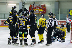 Players of HK Playboy Slavija during Inter National League ice hockey match between HK Playboy Slavija and HK ECE Celje, on September 30, 2015, in Ledena Dvorana Zalog, Ljubljana, Slovenia. Photo by Urban Urbanc / Sportida