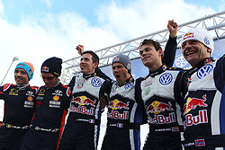 15.02.2015,  Karlstad, SWE, FIA, WRC, Schweden Rallye, im Bild Thierry Neuville/Nicolas Gilsoul (Hyundai Motorsport/i20 WRC), Sebastien Ogier/Julien Ingrassia (Volkswagen Motorsport/Polo R WRC), Andreas Mikkelsen/Ola Floene (Volkswagen Motorsport II/Polo R WRC) // during the WRC Sweden Rallye at the Karlstad in Karlstad, Sweden on 2015/02/15. EXPA Pictures © 2015, PhotoCredit: EXPA/ Eibner-Pressefoto/ Bermel<br /> <br /> *****ATTENTION - OUT of GER*****