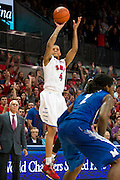 DALLAS, TX - FEBRUARY 01: Keith Frazier #4 of the SMU Mustangs shoots a three-pointer against the Memphis Tigers on February 1, 2014 at Moody Coliseum in Dallas, Texas.  (Photo by Cooper Neill/Getty Images) *** Local Caption *** Keith Frazier