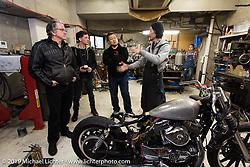 Visit to Hide Motorcycle's shop. (L>R) Harley-Davidson head of design Ray Drea, Ben McGinley Dais Nagao and , Hideya Togashi. Kawasaki, Japan. Tuesday, December 9, 2014. Photograph ©2014 Michael Lichter.