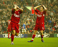 Fotball<br /> Premier League 2004/2005<br /> 06.11.2004<br /> Foto: SBI/Digitalsport<br /> NORWAY ONLY<br /> <br /> Liverpool v Birmingham City<br /> <br /> Liverpool's Luis Garcia cant believe he has just missed a chance to score and neither can John Arne Riise