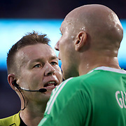 HARRISON, NEW JERSEY- OCTOBER 15: Referee Alan Kelly talking with Brad Guzan #1 of Atlanta United during the New York Red Bulls Vs Atlanta United FC, MLS regular season match at Red Bull Arena, Harrison, New Jersey on October 15, 2017 in Harrison, New Jersey. (Photo by Tim Clayton/Corbis via Getty Images)