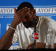 A dejected LeBron during aftergame press conference.