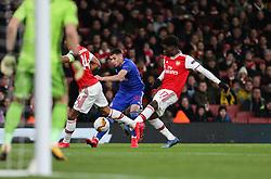 Lazar Randjelovic of Olympiacos attacks the Arsenal defence - Mandatory by-line: Arron Gent/JMP - 27/02/2020 - FOOTBALL - Emirates Stadium - London, England - Arsenal v Olympiacos - UEFA Europa League Round of 32 second leg