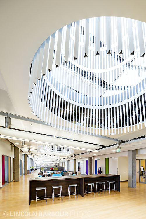 A modern design element dominates the scene of this area inside of the PCC East Campus.
