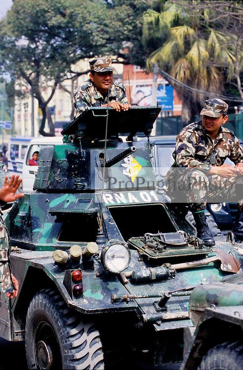 Kathmandu, 17 February 2005.  RNA's vehicles on the streets of the capital
