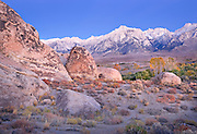 Pre-Dawn Light on Granite Boulders and The Sierra Nevada Mountains, Alabama Hills, CA