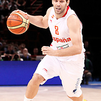 15 July 2012: Jose Calderon of Team Spain dribbles during a pre-Olympic exhibition game won 75-70 by Spain over France, at the Palais Omnisports de Paris Bercy, in Paris, France.
