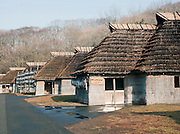 Thatched huts at the Ainu Museum, a living museum at Lake Poroto. The Ainu people are indigenous to Japan and Russia. Hokkaid?, Japan