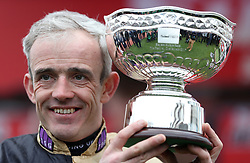 Jockey Ruby Walsh with the trophy after riding Nichols Canyon, winning the Sun Bets Stayers' Hurdle during St Patrick's Thursday of the 2017 Cheltenham Festival at Cheltenham Racecourse.