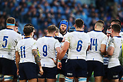 Dean Budd of Italy reacts with his teammates after Chris Harris scoring during the Guinness Six Nations 2020, rugby union match between Italy and Scotland, Saturday Feb. 22, 2020,in Rome, Italy. (Federico Proietti/ESPA-Images-Image of Sport)
