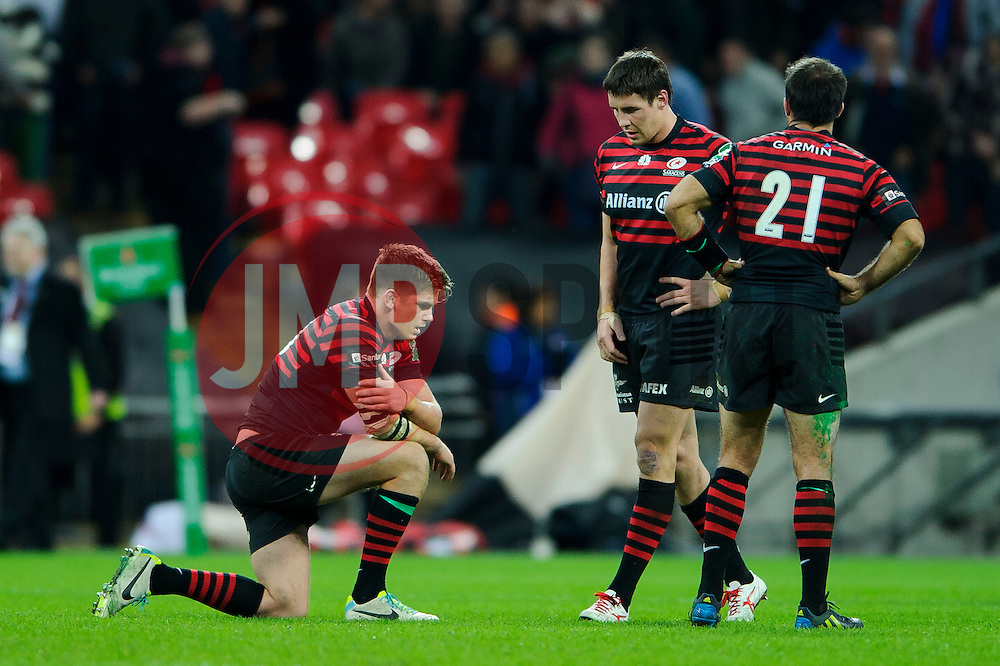 Saracens Fly-Half (#10) Owen Farrell looks dejected after missing with a drop goal attempt to win the match - Photo mandatory by-line: Rogan Thomson/JMP - Tel: 07966 386802 - 18/10/2013 - SPORT - RUGBY UNION - Wembley Stadium, London - Saracens v Toulouse - Heineken Cup Round 2.