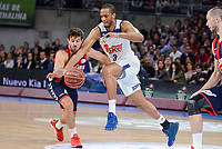 Baskonia's Nico Laprovittola and Real Madrid's Anthony Randolph during Semi Finals match of 2017 King's Cup at Fernando Buesa Arena in Vitoria, Spain. February 18, 2017. (ALTERPHOTOS/BorjaB.Hojas)