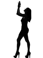 stylish silhouette caucasian beautiful woman applauding looking up full length on studio isolated white background