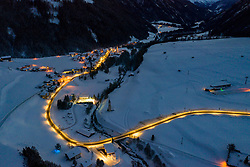 THEMENBILD - Verlauf der Kalser Landesstrasse zur Blauen Stunde. Kals am Großglockner, Österreich am Dienstag, 15. Jänner 2019 // Course of Kals country road to the Blue Hour. Tuesday, January 15, 2019 in Kals am Grossglockner, Austria. EXPA Pictures © 2019, PhotoCredit: EXPA/ Johann Groder