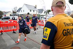 Jordan Williams and Tom Varndell of Bristol Rugby arrive at the ground - Rogan/JMP - 28/10/2017 - RUGBY UNION - Stade Santander International - St Peter, Jersey - Jersey Reds v Bristol Rugby - Greene King IPA Championship.