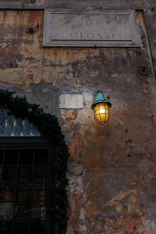 A street lamp in Rome, Italy.