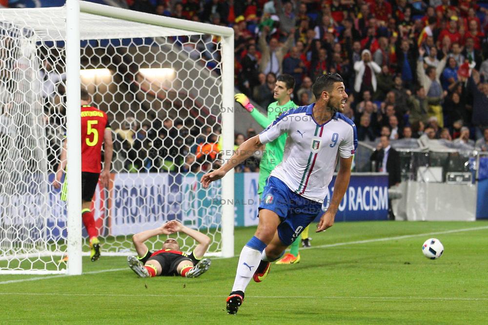 13-06-2016 FRA: UEFA EURO Belgie - Italie, Lyon<br /> België verliest met 2-0 van Italie / Graziano Pelle (ITA) scoort de 2-0<br /> <br /> ***NETHERLANDS ONLY***