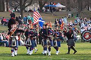 West Point, New York - The Leatherneck Pipes and Drums march off the field at the end of  the 32nd annual West Point Military Tattoo at Trophy Point at the United States Military Academy on April 13, 2014.
