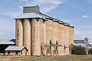 Grain silo rail transport depot in Mirrool in rural country New South Wales, Australia. <br /> <br /> Editions:- Open Edition Print / Stock Image
