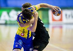 Matic Groselj of Celje vs Janez Gams of Gorenje during handball match between RK Celje Pivovarna Lasko and RK Gorenje Velenje in Last Round of 1. Liga NLB 2016/17, on June 2, 2017 in Arena Zlatorog, Celje, Slovenia. Photo by Vid Ponikvar / Sportida