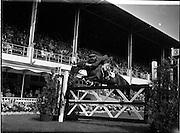 "02/08/1960<br /> 08/02/1960<br /> 02 August 1960<br /> R.D.S Horse Show Dublin (Tuesday). Captain W.A. Ringrose, Ireland, on ""Cloyne"" competing at the Dublin Horse Show."